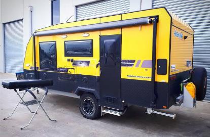 Yellow Caravan Modified By South East Caravan and Float Repairs