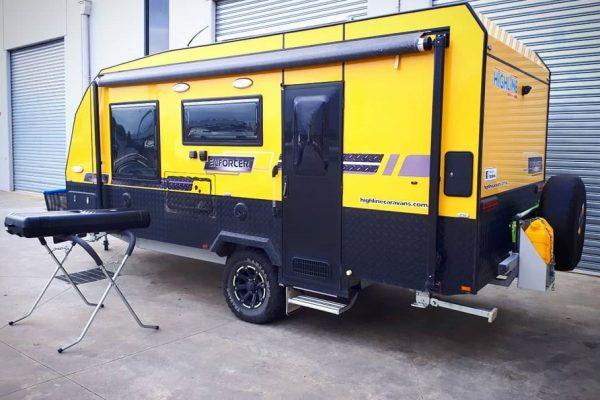 South East Caravan and Float Repairs - Yellow Caravan being repaired and modified