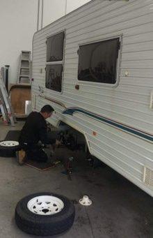 Caravan getting Serviced